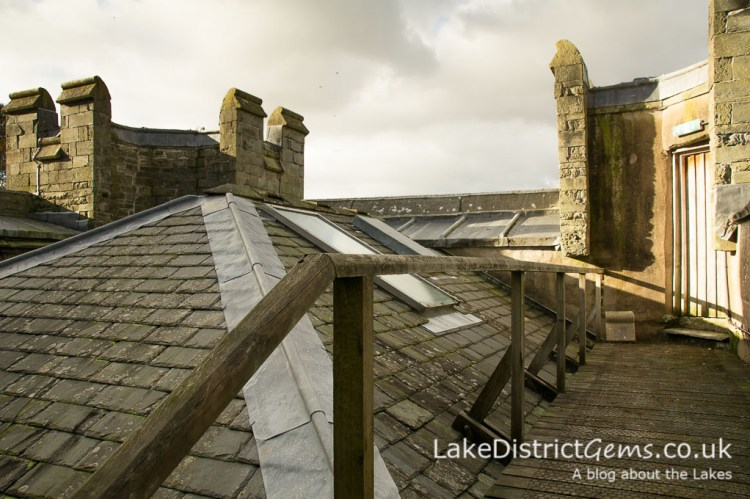 The roof on a hard hat tour of Wray Castle