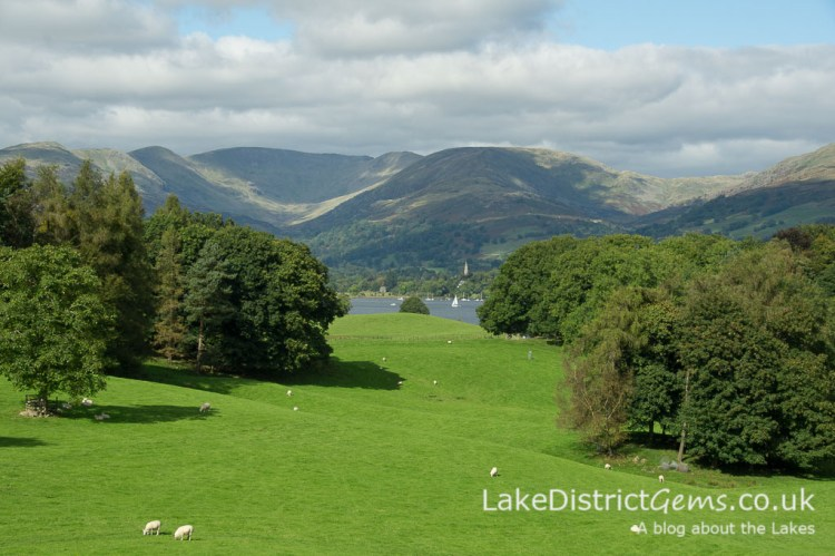 The view from the front of Wray Castle in the summer