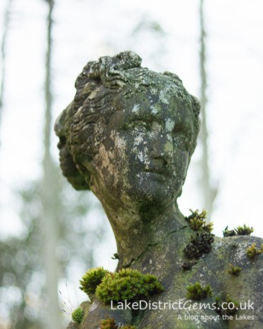 Moss on a stone statue
