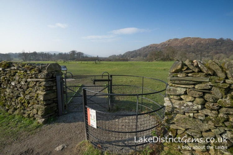 The kissing gate between Borrans Park and Ambleside Roman Fort