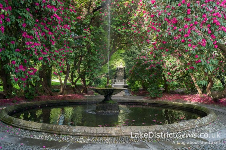 The Neptune Cascade in the gardens at Holker Hall