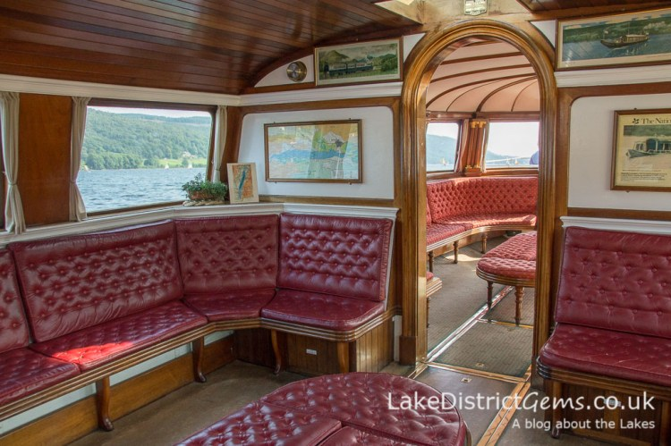 The interior of Steam Yacht Gondola on Coniston Water