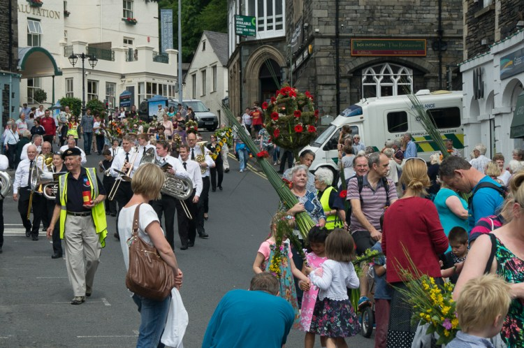 The procession entering the Market Place