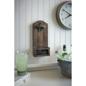 wood bottle opener, built in wood bottle opener, lake house porch bottle opener