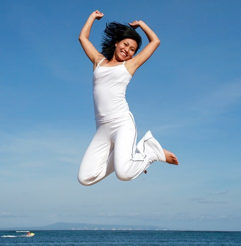 Woman Leaping for success