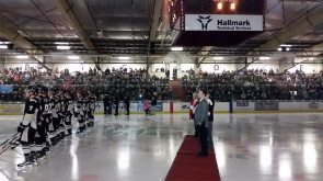 Letestu watches on as jersey is raised to the rafters at the RJ Lalonde