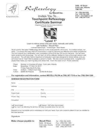 Reflexology registration form