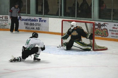 Michael Cardinal takes a breakaway shot late last week during game one in Killam. [Photo submitted by Russel Quinney]