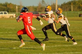 Owen Breast (8) runs the football into the end zone for the touchdown. Breast scored 3 TDs against Wainwright on Friday.
