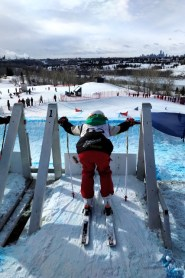 Annabelle Iverson in the start gate at the Nancy Green Ski League Ski Cross. Image submitted.