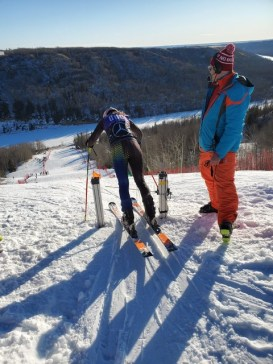 Claire Levesque in the start gate at Alberta Winter Games - U14 Provincial Series. Image submitted.