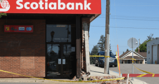 Elderly man crashes into Scotiabank in LLB