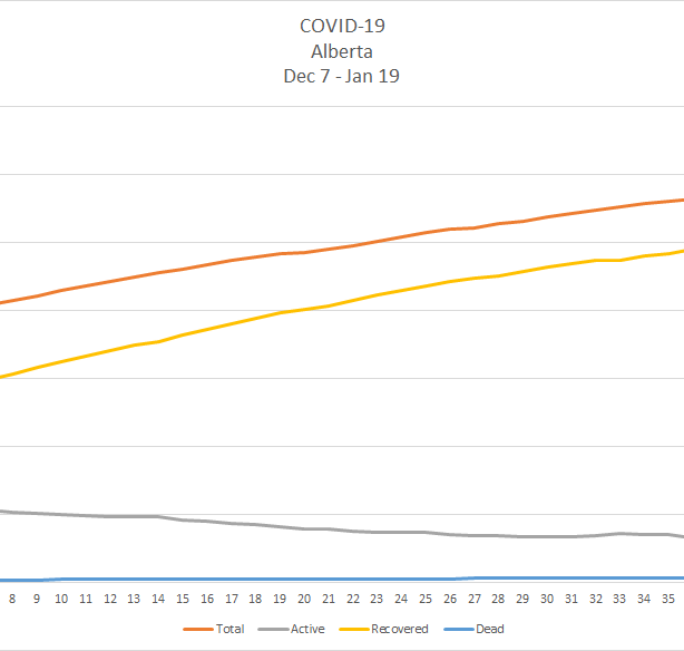 A line chart depicting the provincial curve of COVID-19 cases between Dec. 7 2020 and Jan. 19 2021