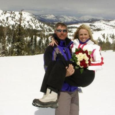 Just married adventure wedding in Tahoe