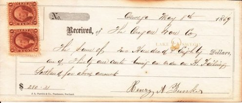Oregon Iron Company receipt for $280.31 May 8, 1869