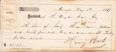 Oregon Iron Company receipt for $63.95 May 8, 1869