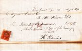 Oregon Iron Company receipt for traveling expenses for H. Harris Dr. May 26, 1869