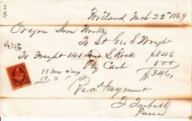 Oregon Iron Company receipt for rock March 22, 1869