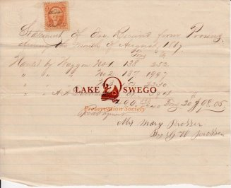 Receipt for hauling iron ore signed by G. W. Prosser on behalf of his mother, Mary Prosser August 1867