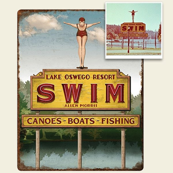 Lake Oswego Resort Swim Sign