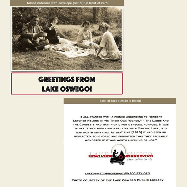 Lake Oswego Vintage Picnic Notecards