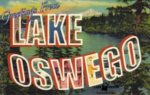 """Greetings from Lake Oswego"" postcard"