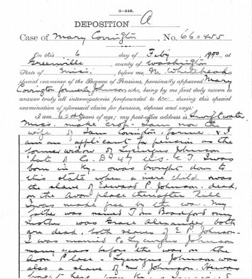 Page from deposition of Mary (Johnson) Covington, Febuary 6 1900.
