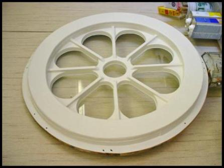 Rose window ready for re-installation