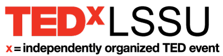 White and Red TEDxLSSU logo