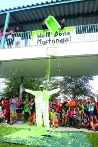 Dallas Jackson, former principal at Martinez Middle School, gets slimed in a school event to celebrate surpassing a fundraising goal at the Lutz school. (Photos courtesy of the Martinez Middle School Parent Teacher Student Association)