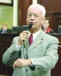 Ken Littlefield, during his years as a state lawmaker, giving a speech on the floor of the state House in Tallahassee. Littlefield wants to continue serving government at the Pasco County Commission. (Courtesy of Florida House)