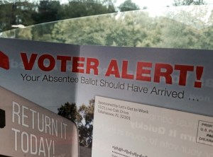 Campaign fliers from the Rick Scott re-election campaign are telling voters their absentee ballots should have already arrived. However, those ballots can't legally be sent out until Sept. 30. (Courtesy of Pasco County Supervisor of Elections office)