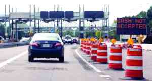 The Sugarwood toll plaza on the Veterans Expressway is undergoing construction as tollbooths are removed and electronic sensors read the vehicle's prepaid SunPass. (Fred Bellet/Photo)