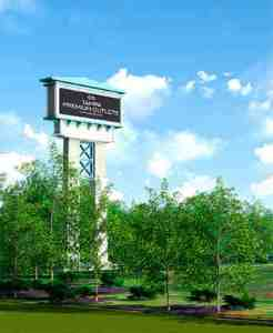 Simon Property Group opted not to seek a 90-foot pylon sign near Interstate 75 that would have advertised the Tampa Premium Outlets, under construction on State Road 56. (Courtesy of FRCH Design Worldwide)