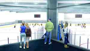 Hockey fans watch from the sidelines in this interior rendering of Florida Hospital Center Ice, an ice rink and sports complex under construction at the State Road 56 and Interstate 75 interchange. (Courtesy of Florida Hospital Center Ice)