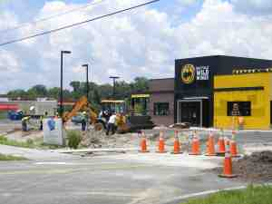 Construction is nearly complete on the new Buffalo Wild Wings restaurant off State Road 56. A ribbon cutting is scheduled for July 3. (Kathy Steele/Staff Photo)