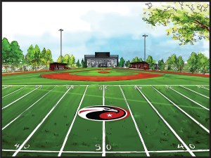 This rendering depicts a view of the proposed $2 million multipurpose sports complex at Carrollwood Day School. It will include space for football, baseball and soccer. (Image courtesy of Carrollwood Day School)