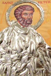 Aneesha Joshy tooled metal to create this icon image of Saint Peter. (B.C. Manion/Staff Photo)