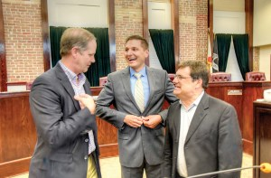 State Sen. Wilton Simpson, State Rep. Danny Burgess and U.S. Rep. Gus Bilirakis interact before a town hall session begins in Dade City. The meeting lasted more than three hours, and those turning out talked out myriad issues.