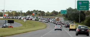 Rush-hour traffic typically stacks up along State Road 56 at the Interstate 75 interchange. On opening day for Tampa Premium Outlets, 12 extra duty officers from the Pasco County Sheriff's Office will help with traffic and security at the mall. FRED BELLET/PHOTO