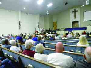 Kirk Bogen, with the Florida Department of Transportation, addressed more than 100 people at a public hearing, at Myrtle Lake Baptist Church.