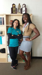 Sunlake High's Brianna Anderson, right, is pictured alongside weightlifting coach Denise Garcia. Anderson won first place in the 183-pound division in the Class 2A Florida High School Athletic Association (FHSAA) Girls Weightlifting Championships on Feb. 6. (Photos courtesy of Denise Garcia)