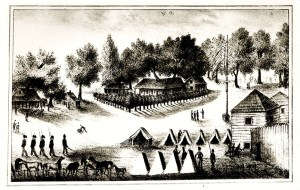 Barracks and tents at Fort Brooke in Tampa Bay, around 1840. In 1824 Fort Brooke was a military post established at the mouth of the Hillsborough River in present-day Tampa. It had as many as 3,000 soldiers and would take part in all three Seminole Indian Wars. The fort was decommissioned by the U.S. Army in 1883. (Courtesy of South Florida Library)