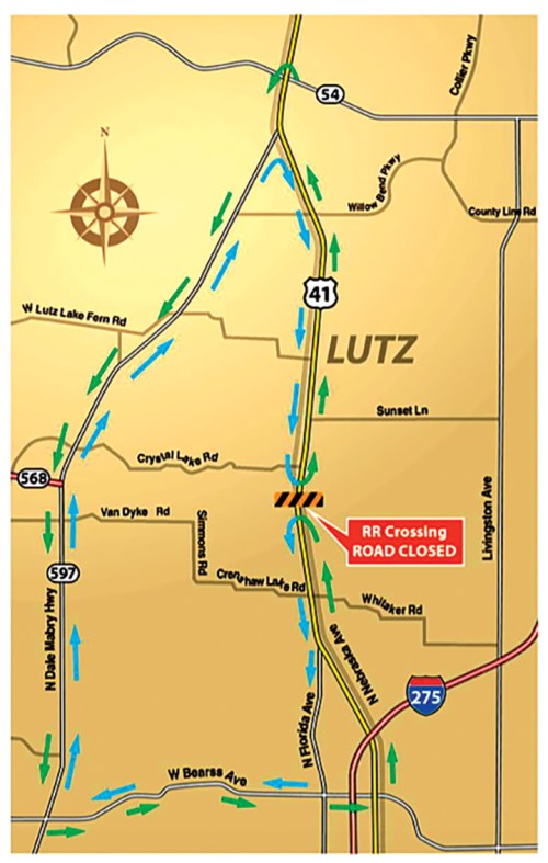 U.S. 41 in Lutz will be closed at the railroad crossing, north of Crenshaw Lake Road, until March 27. Electronic signs were posted in advance of the closure to alert motorists. (Courtesy of Florida Department of Transportation)