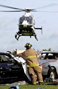 A Bayflite helicopter assisted the Pasco County Sheriff's Office and Pasco County Fire Rescue to simulate the reality of 'what happens' at an alcohol-related, crash scene.