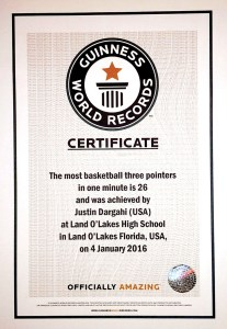 This is an image of the Guinness World Record certificate of Justin Dargahi's feat.