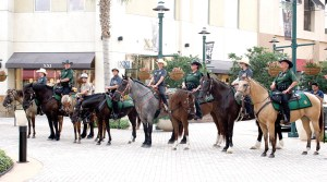 The Pasco County Sheriff's Office mounted posse was on hand at the June 14 Flag Day ceremony, to celebrate the installation of a 40-foot flagpole at The Shops at Wiregrass.