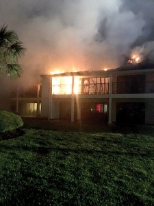 It took 55 Pasco County Fire Rescue firefighters more than an hour-and-a-half to extinguish the blaze that broke out in the boys' dormitory at Saddlebrook Preparatory School in the early morning hours of June 9. No one was injured, but the damage was extensive. (Courtesy of Pasco County Fire Rescue)