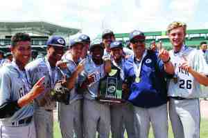 Players from Gaither High School's varsity baseball team signal that they're No. 1. The team beat Venice High to secure the program's first Class 7A FHSAA state championship. (Courtesy of Gaither High baseball)