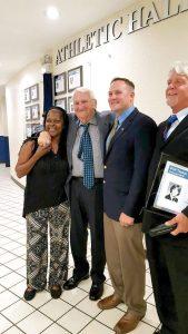 From left: Dianne McClendon, Jerry English, Lt. Col. Rhett Hierlmeier and Phil Teston. (Courtesy of Land O' Lakes Gators Athletics Foundation)